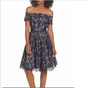 Eliza J Floral Lace Dress Petite